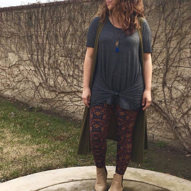 LuLaRoe Perfect tee tied in the front with a Joy vest