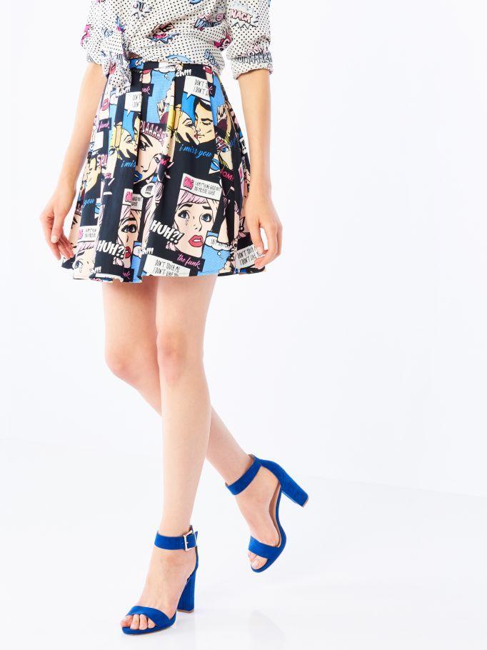 Komiksowa spódnica z koła, MOHITO