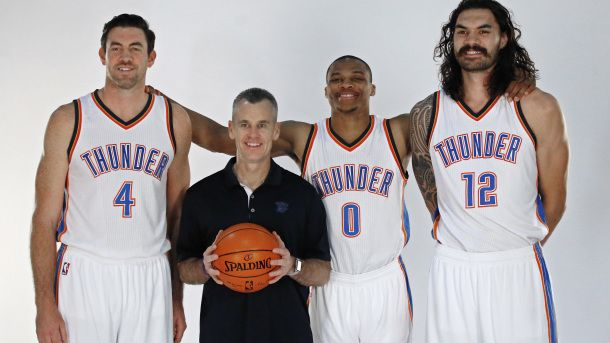 #NBA Oklahoma City Thunder forward Nick Collison (4), head coach Billy Donovan, guard Russell Westbrook (0) and center Steven Adams pose for a photo during the 2016-2017 Oklahoma City Thunder Media Day in Oklahoma City, Friday, Sept. 23, 2016. (AP Photo/Sue Ogrocki)