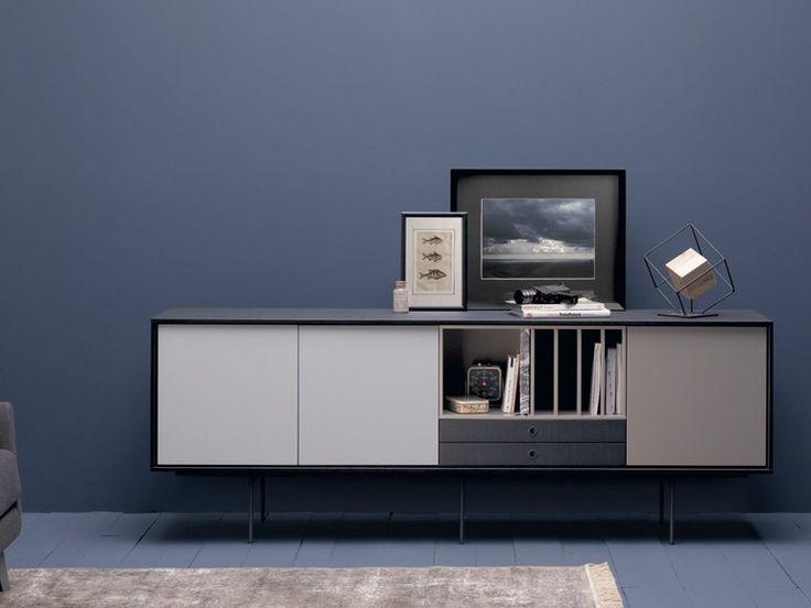 Lacquered solid wood sideboard AURA S9 by TREKU design Angel Martí, Enrique Delamo