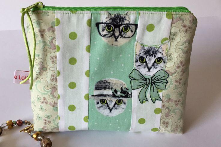 Kosmetiktasche Kosmetikbeutel Make up Tasche Schminktasche Katze von madameLotta auf Etsy