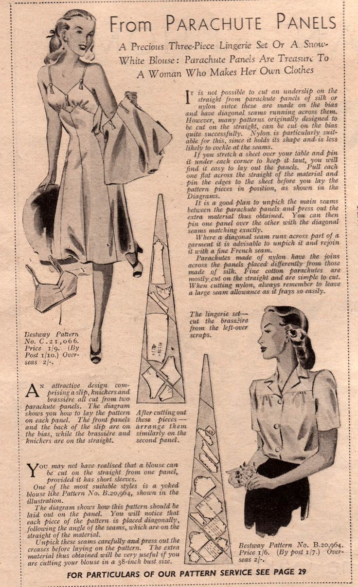 Vintage clothes fashion ads of the 1940s page 22 - Lingerie From Parachute Panels Make Do And Mend Wartime Lingerie 1940s Fashion