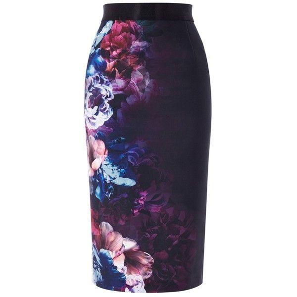 Coast Eton Print Pencil Skirt, Multi ($84) ❤ liked on Polyvore featuring skirts, coast skirts, flower print skirt, print skirt, blue print skirt and patterned skirts
