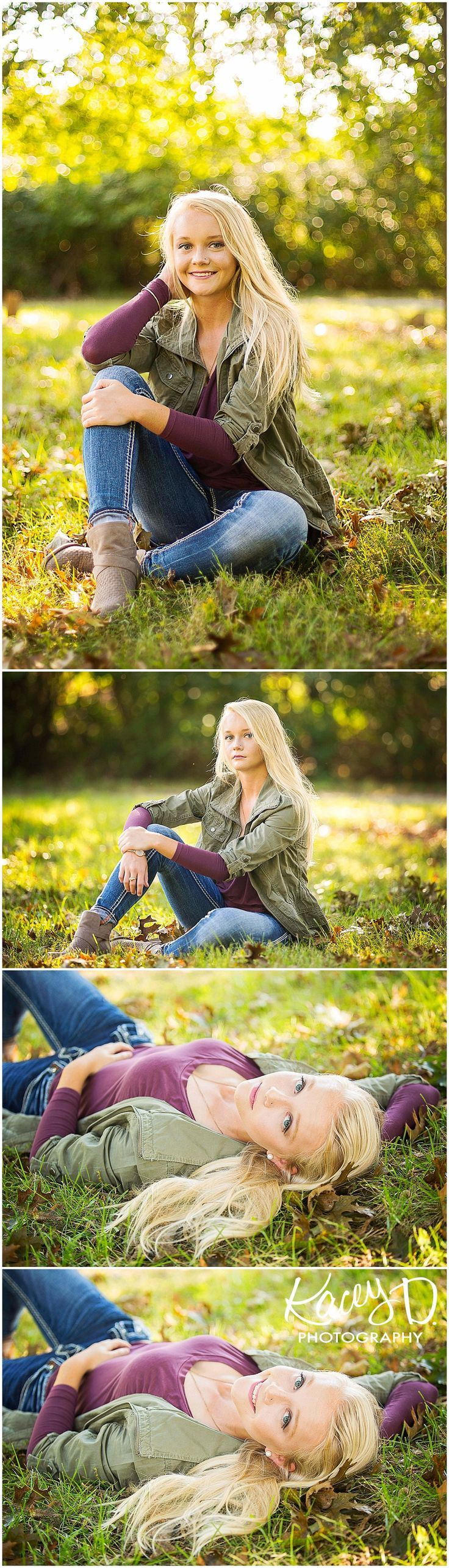 Kacey D Photography - Senior Photographer Columbia, MO - Fall Senior Pictures - Lovely Girl - Denim and Olive with Purple Outfit