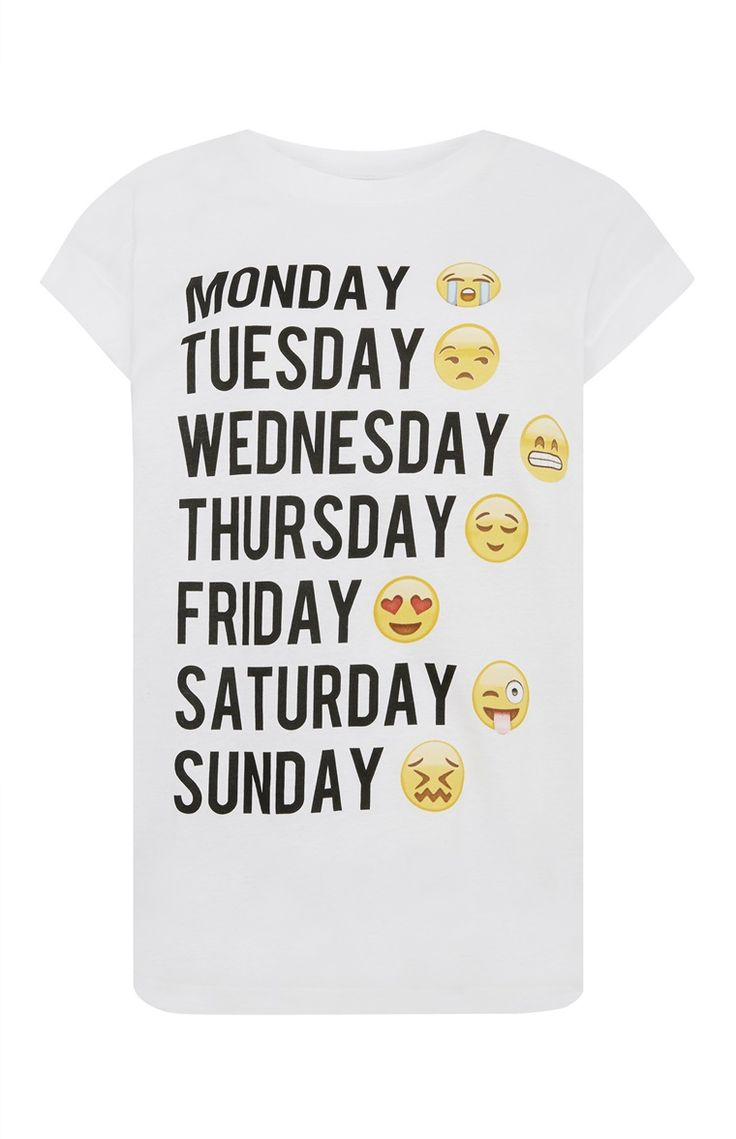 Primark - Emoji Weekday T-Shirt