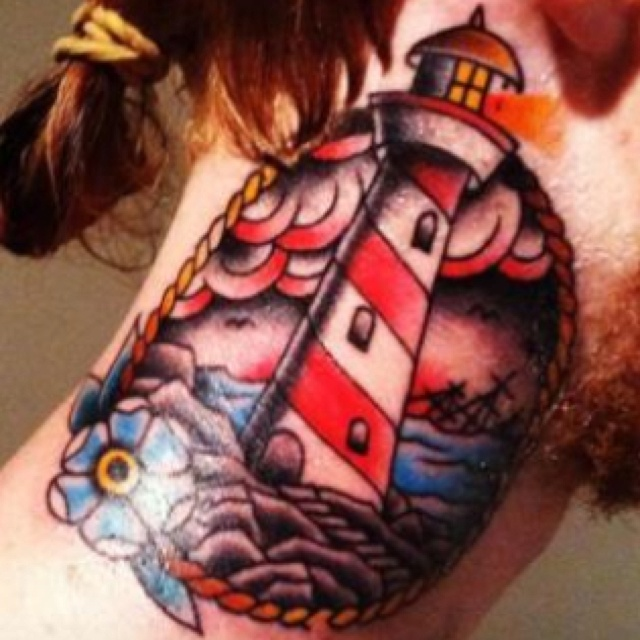 Lighthouse American Traditional Tattoo: Nautical American Traditional