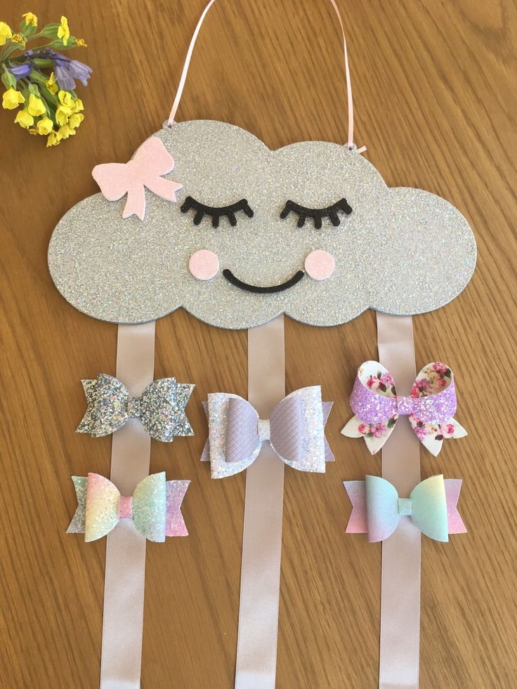 Holographic Silver Glitter Cloud Wall Hanging Silver