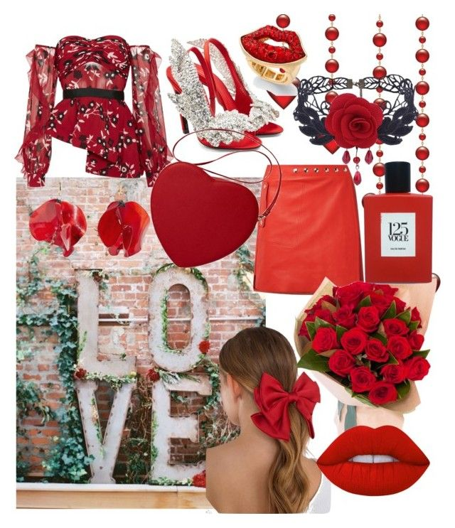 """Valentine's Day ❤"" by drumeaclementina on Polyvore featuring self-portrait, Balenciaga, Acne Studios, Tobi, Marni, Thalia Sodi, Lime Crime, Comme des Garçons, red and valentine"