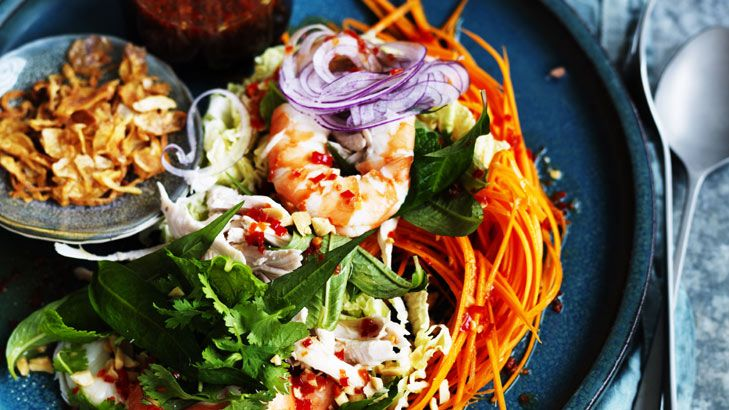 Pick up some cooked prawns and some roast chook and this Vietnamese coleslaw is about done. For a vegetarian option remove the chicken and prawn from the coleslaw, add some daikon, Chinese celery and cucumber, and replace the fish sauce with tamari.