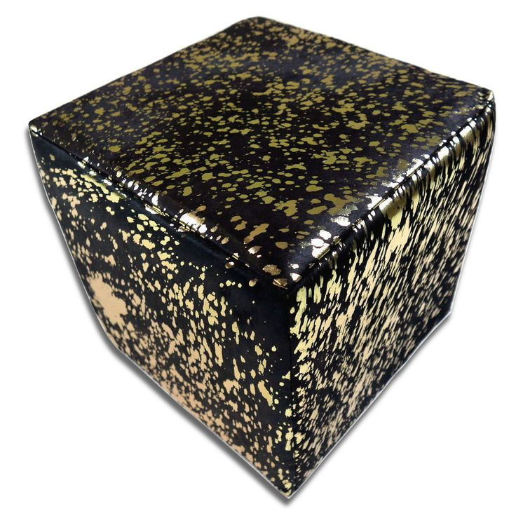 "Hair-on Cowhide Cube Ottoman Footstool - Black on Gold Cowhide Furniture Cube Size: 16""X16""X16"" High by Cowhidesusa on Etsy https://www.etsy.com/listing/488317102/hair-on-cowhide-cube-ottoman-footstool"