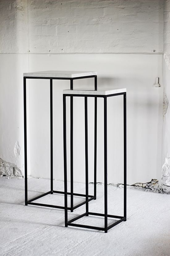 METAL FRAME PLINTHS WITH MARBLE TOPS - Display & Exhibition Plinths - PLINTHS.LONDON