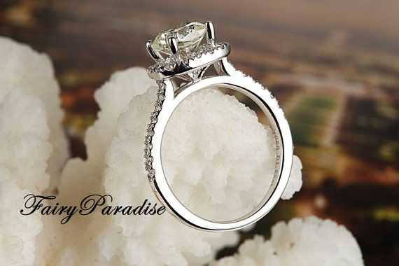 2 Ct Cushion Cut lab made Diamond not CZ Halo Set by FairyParadise