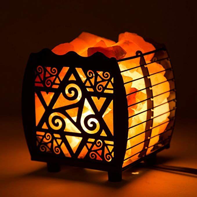 Amazon Com Crystal Decor Natural Himalayan Hybrid Wired Cube Basket Pink Salt Lamp In A Modern And Pink Himalayan Salt Lamp Himalayan Salt Lamp Pink Salt Lamp