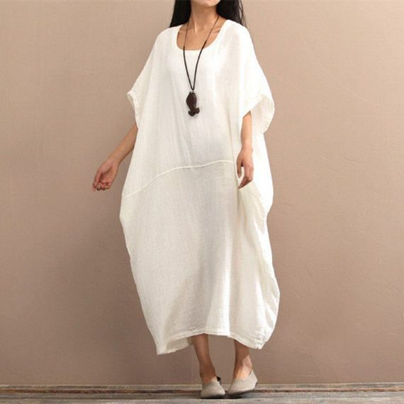 Woemn Long Loose Cotton Dress Oversize Dress Plus Size