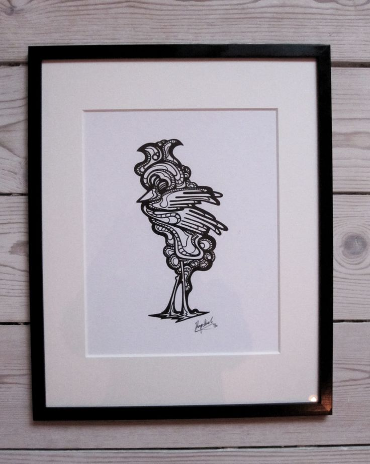 """""""Rooster"""" by hurupmunch  Printed illustration on akvarel paper A4: Dkk 150,-  Printed illustration in passepartout and painted wood frame: Dkk 350,-"""