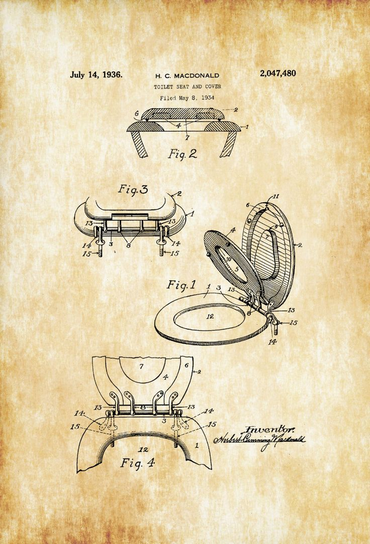 Toilet Seat Patent Patent Print Wall Decor Bathroom