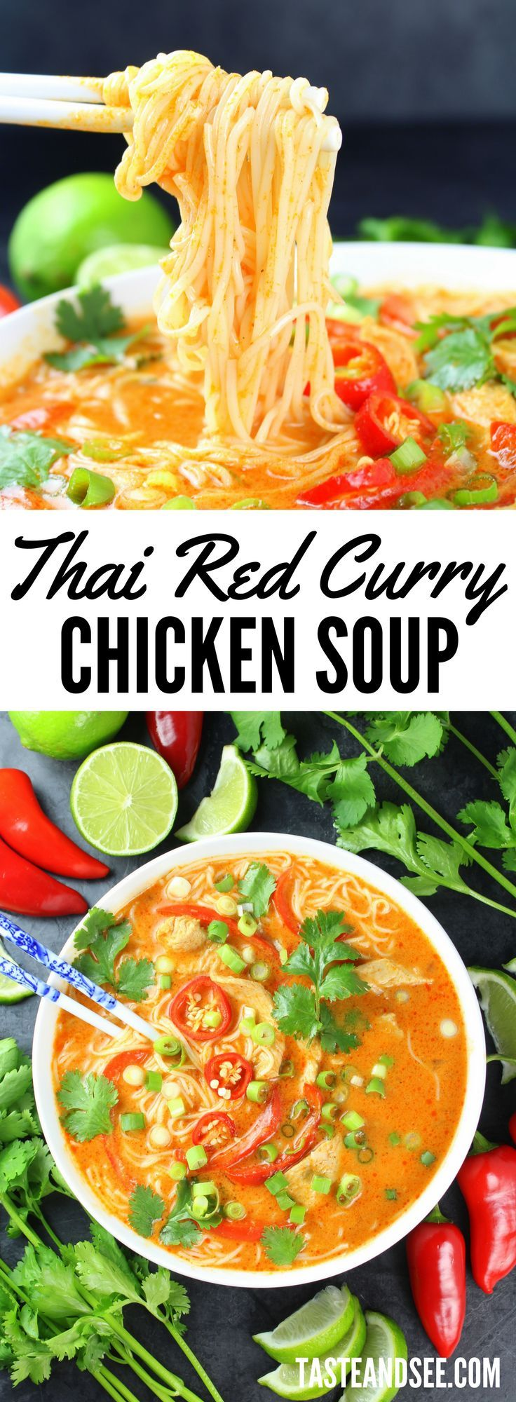 Thai Red #Curry Chicken #Soup - Warm creamy comforting red curry soup with a touch of sweetness and a bit of a spicy kick.  https://tasteandsee.com