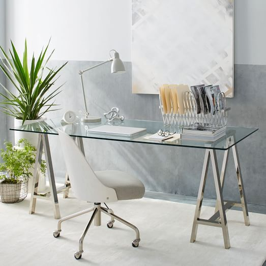 start with: white or light walls & a window to let in natural light add: white or glass desk textured white or cheerful rug plant chair that is not from office depot gold desk accessories clock