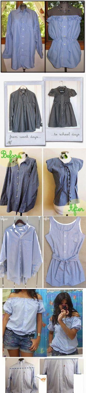 Простые способы создания летних нарядов из старых рубашек - Ярмарка Мастеров - ручная работа, handmade | Шитьё | Постила