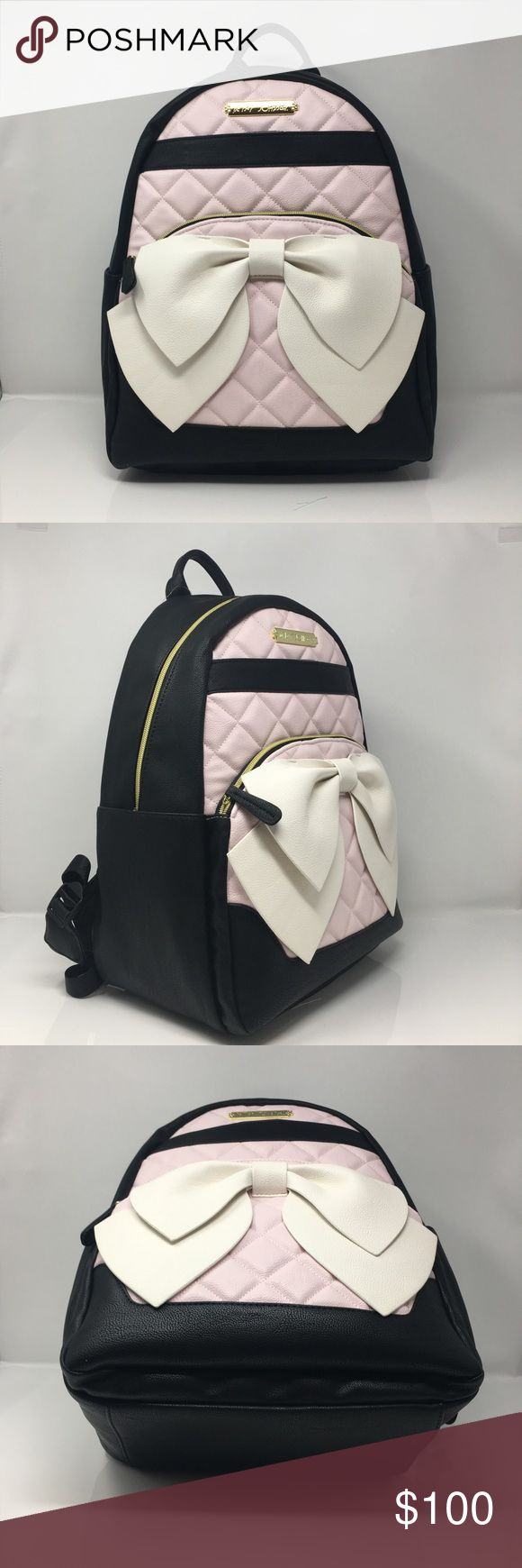 """🆕 Betsey Johnson backpack NWT A pretty take on classic ultrafunctional  Betsey Johnson backpack in faux leather, Betsey Johnson signature bow design, fully lined interior, double straps, zip closure, gold tone exterior hardware, zip pocket & 1 key finder, laptop compatible. 12""""x15""""x6"""" (WxHxD) NWT Betsey Johnson Bags Backpacks"""