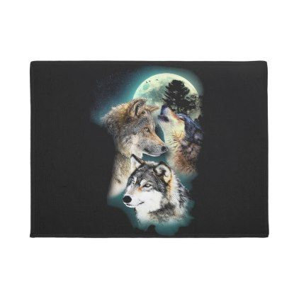 Fantasy Wolf Moon Mountain Doormat - #customizable create your own personalize diy