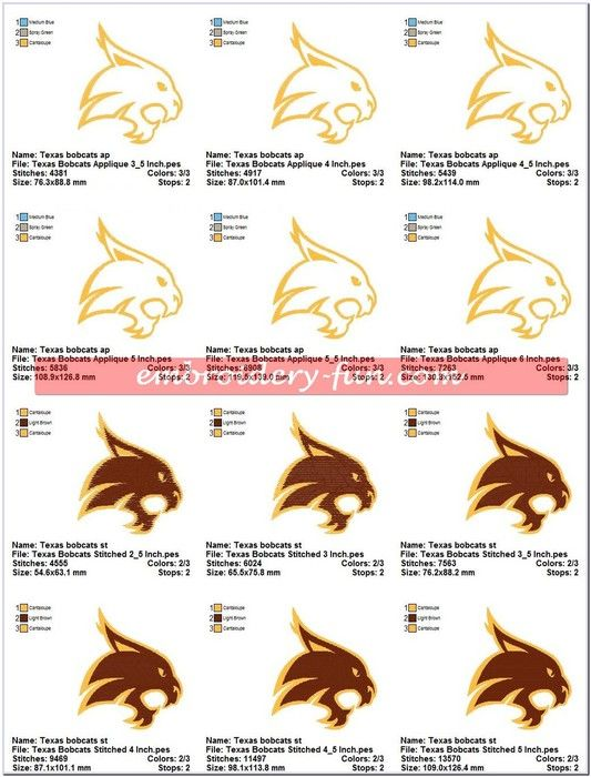 Texas State University Bobcats Logo Sports Embroidery Designs - Embroidery-Fun.com