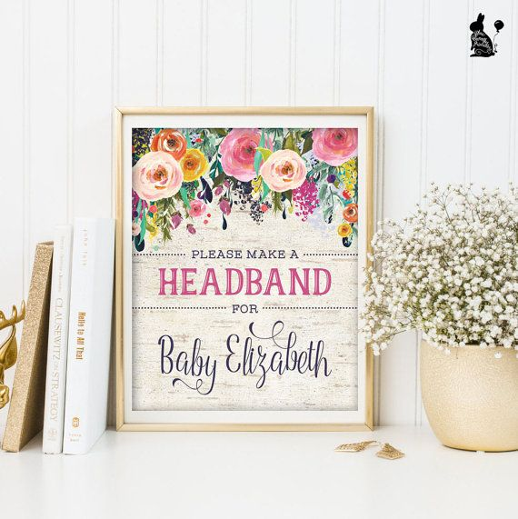 STIRNBAND-ZEICHEN. Floral Baby Dusche von BlueBunnyPrintables