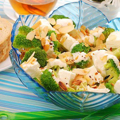 Salade grecque aux fleurons de brocoli et chou-fleur