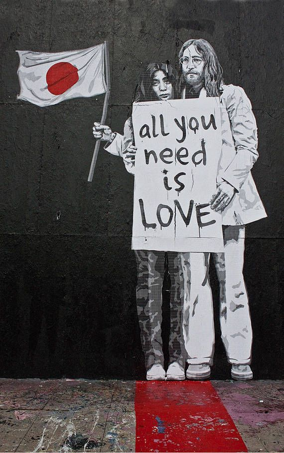 Banksy Canvas (READY TO HANG) - Yoko and John All You Need is Love - Multiple Canvas Sizes