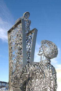 Andy Scott's sculpture at Station Square, Alloa, Clackmannanshire  http://www.clacksweb.org.uk/culture/trainstnsculpture/