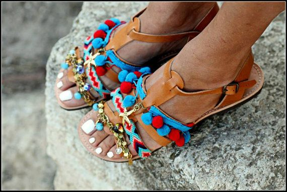 Spartan Greek Leather sandals with pom pom by ElinaLinardaki