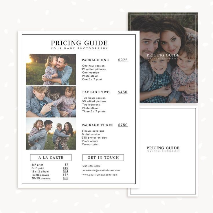 Vintage Photography Template Photo Session Package Pricing Marketing Price List Photoshop Template Antique INSTANT DOWNLOAD