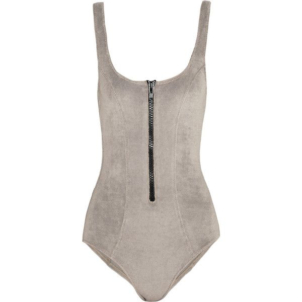 Lisa Marie Fernandez The Jasmine stretch-terry swimsuit (520 PLN) ❤ liked on Polyvore featuring swimwear, one-piece swimsuits, swimsuit, tops, bodysuits, bikinis, grey, low-back one-piece swimsuits, swim suits and lisa marie fernandez swimwear