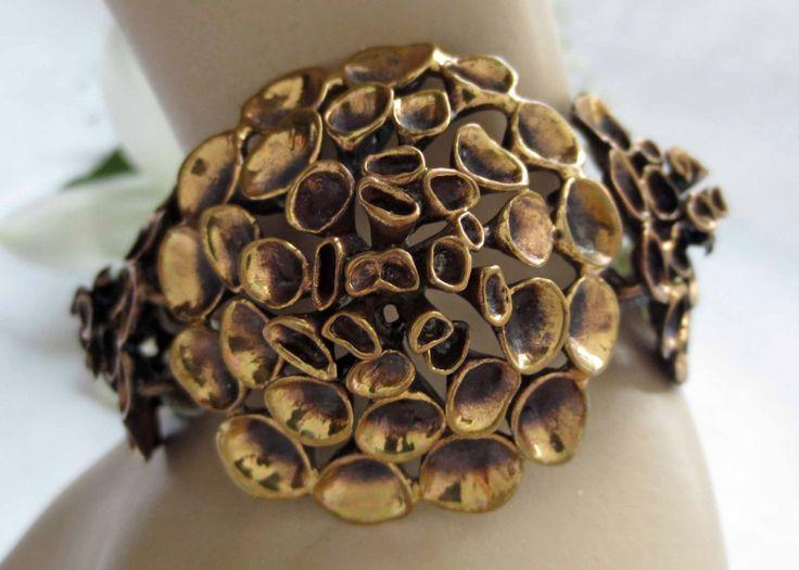 Finland Heavy Vintage XXL Bronze Reindeer Lichen Bracelet 1970'S 56 G | eBay