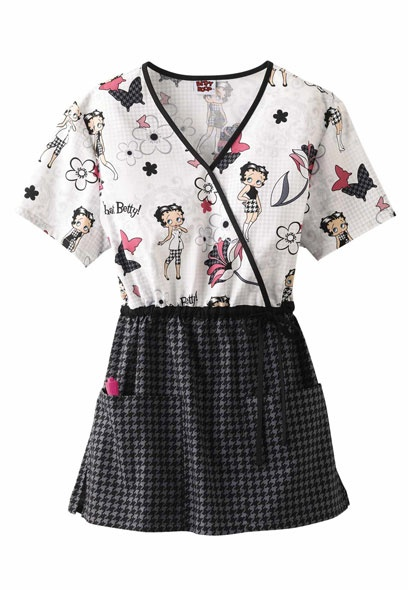 Cherokee Betty Boop Houndstooth Betty print scrub top.