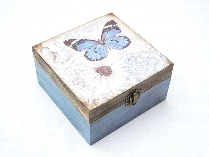 Kék pillangó nagy ékszertartó fa doboz