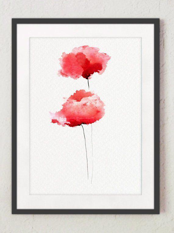 Mohnblumen Aquarell Rote Blumen Giclee Kunstdruck Wohnzimmer