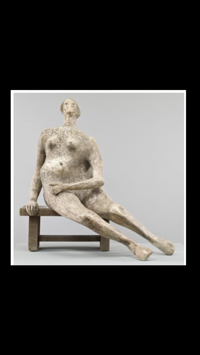 "Henry Moore - "" Seated Woman "", 1957 - Plaster and wood - 1488 x 1394 x 914 mm - Tate Gallery"