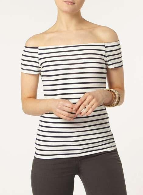Ivory & Navy bardot top - Tops & T-Shirts - Clothing - Dorothy Perkins