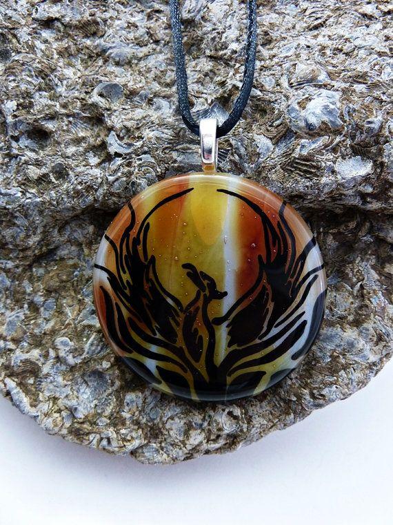Phoenix Pendant, Phoenix Necklace, Phoenix Jewelry, painting, fused glass, 016