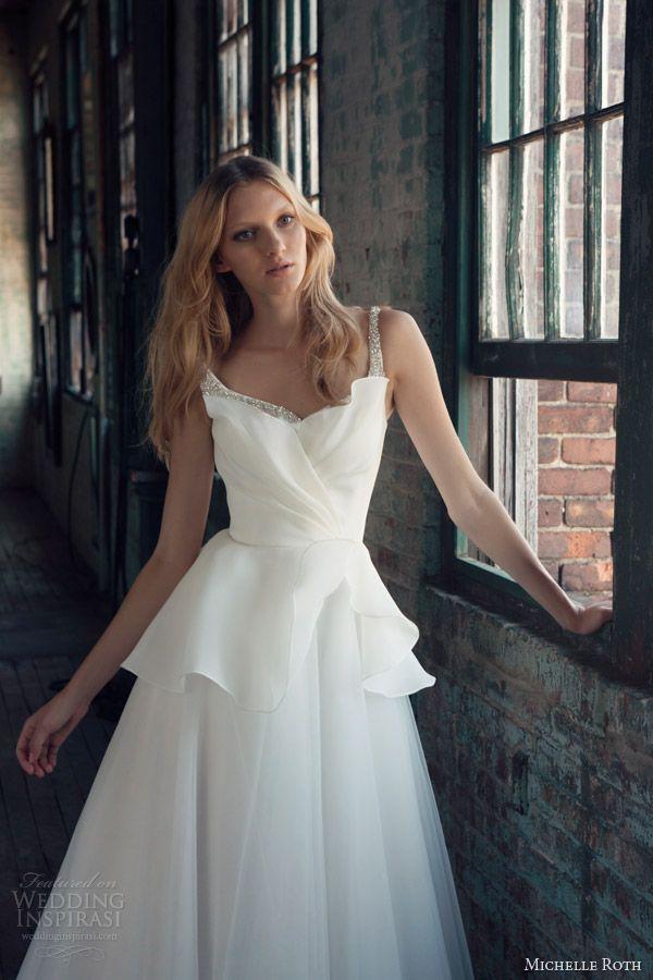 michelle roth bridal 2014 rebecca wedding dress embellished straps bodice close up crumbcatcher neckline