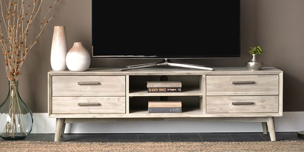 Enjoy the classic shape of mid century design with updated television viewing on a flat screen TV. Shop online now. #LivingSpaces