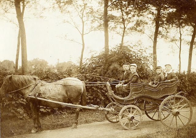Lucky children on a horse carriage, Netherlands, ca.1905-08 ~ vintage everyday