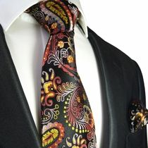 Yellow, Red and Black Paisley Necktie and Pocket Square by Paul Malone . 100% Silk (553H)