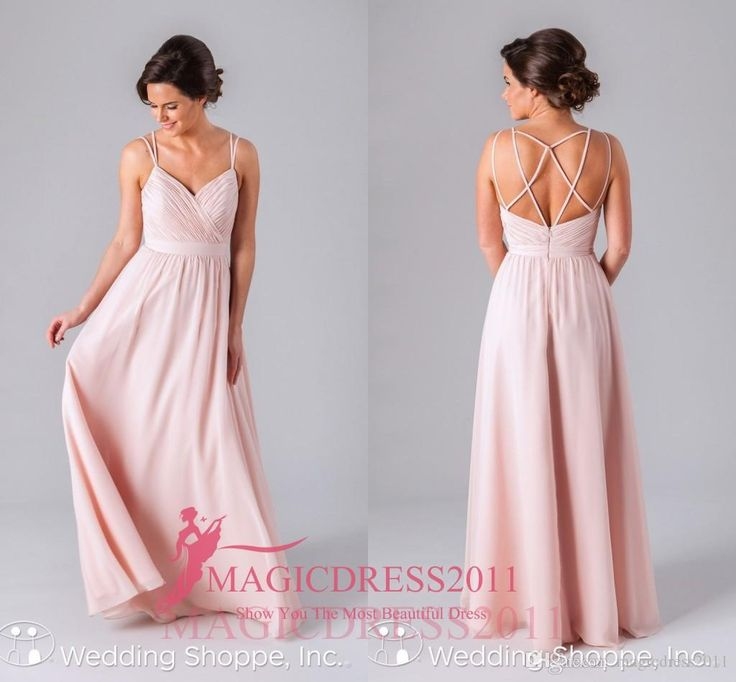2016 Romantic Pink Bridesmaid Dresses A Line Long Chiffoncriss Cross Straps Party Prom Gowns Floor Length Ruffled Maid Of Honor Dress Cheap Green Bridesmaid Dress Kids Bridesmaid Dresses From Magicdress2011, $66.49| Dhgate.Com