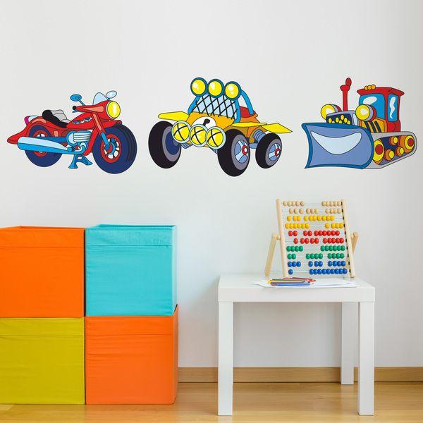 Adesivi per bambini: moto, auto e scavatrice. Adesivi murali bambini a kit. #adesivimurali #decorazione #modelli #mosaico #moto #veicoli #StickersMurali