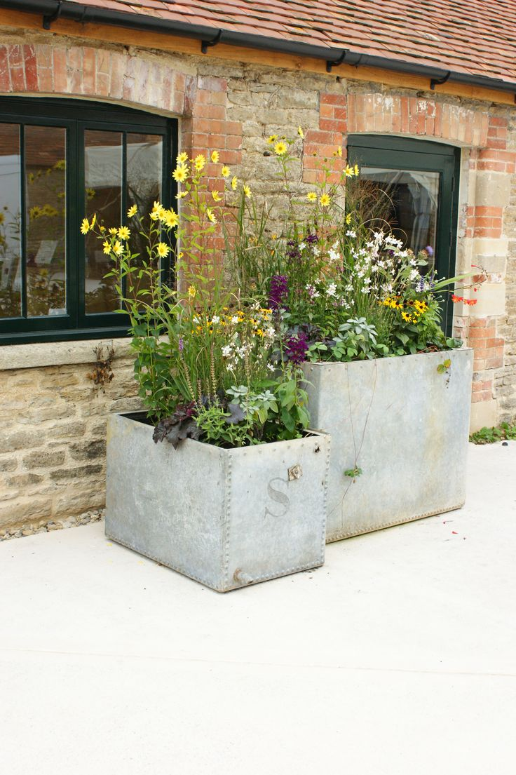 Agricultural Chic Galvanised Planters At Hauser Wirth Bruton Somerset