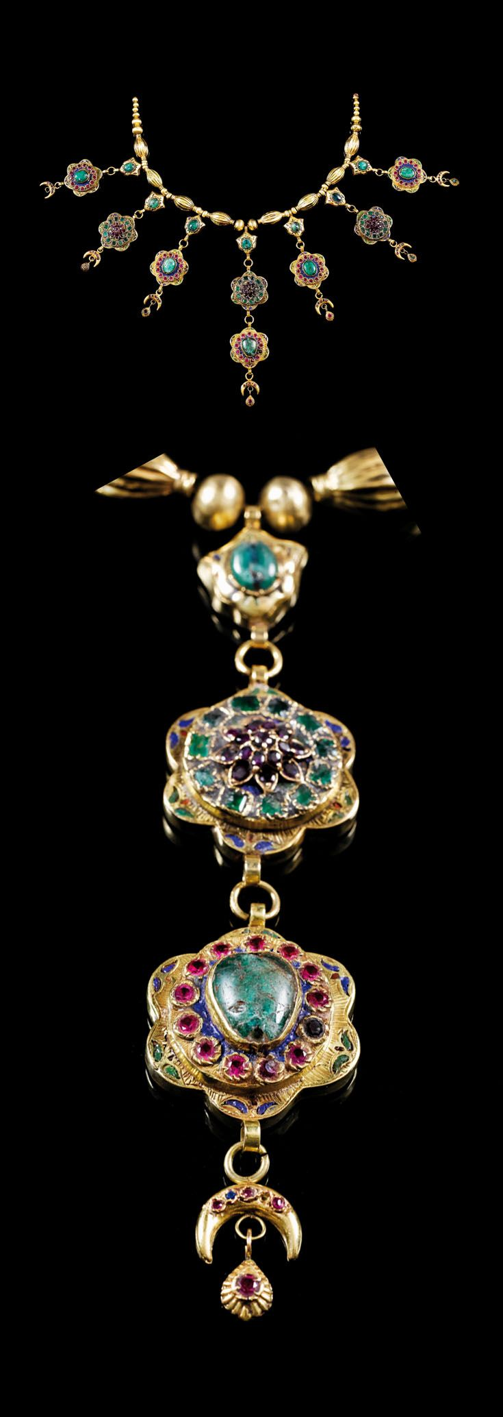 Morocco ~ Fez | 'Lebba' ~ necklace; gold set with emeralds, rubies and other precious stones. Emamelled in floral motifs. | ca. 18th century | 36'750€ ~ sold (Mar '11)