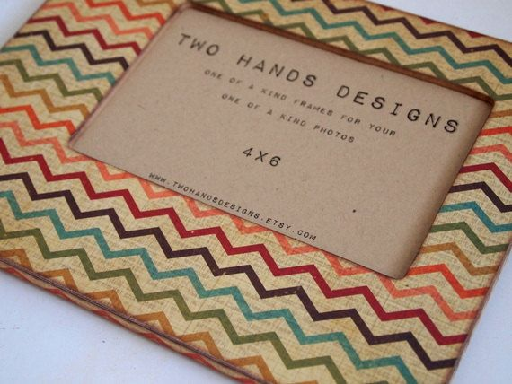 4x6 Distressed Chevron Picture Frame by TwoHandsDesigns on Etsy, $24.00