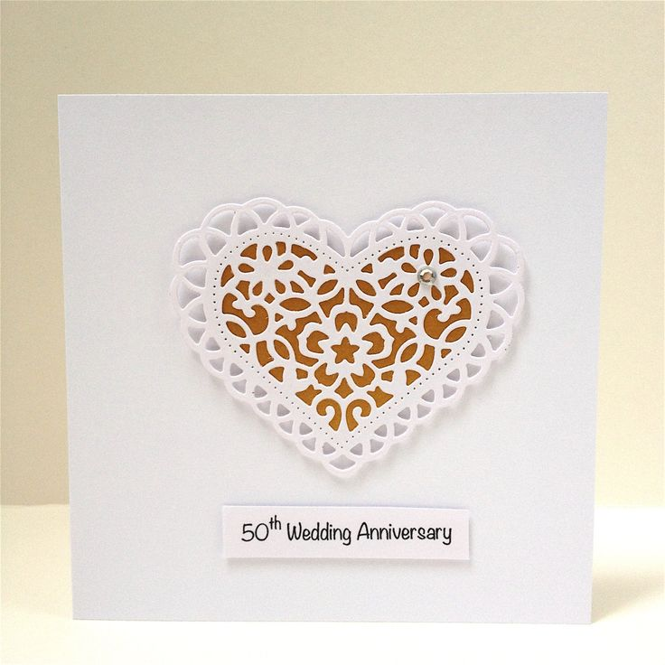 50th Wedding Anniversary Greeting Card - Golden Wedding Anniversary - Handmade Greeting Card - 3D Heart - Paper Lace Heart by LooksInviting on Etsy